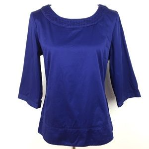 Banana Republic Dark Blue Wide Sleeve Top Medium